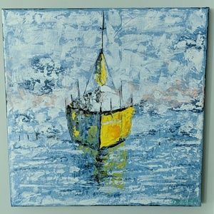 Yellow boat painting